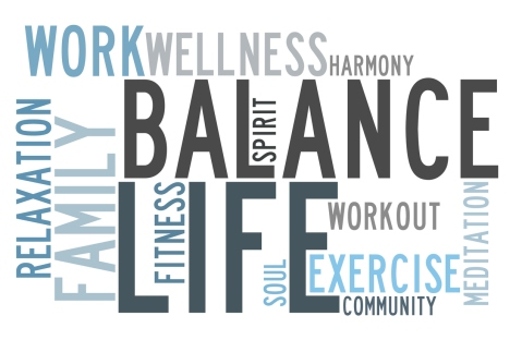 Sign depicting how to balance life and work
