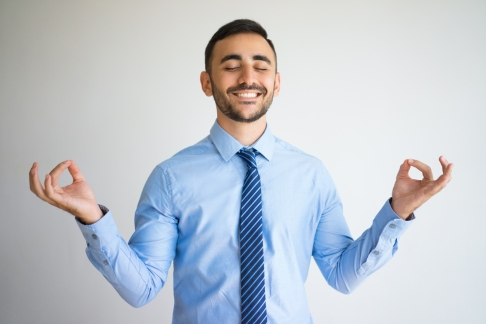 Happy Office Worker with Zen Gesture